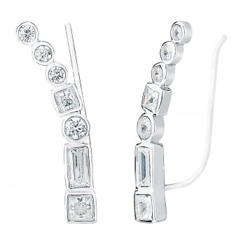 Ingenious Silver ear climber with multi stones