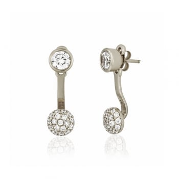 Ingenious Silver ear jacket with pave circle