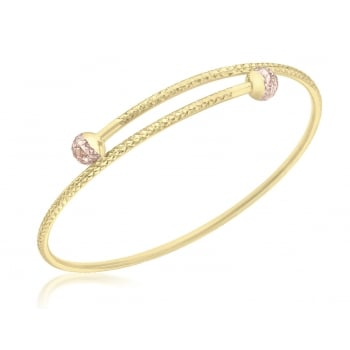 Jewel & Gem 9ct 2-Colour Gold Diamond Cut Ball Bangle