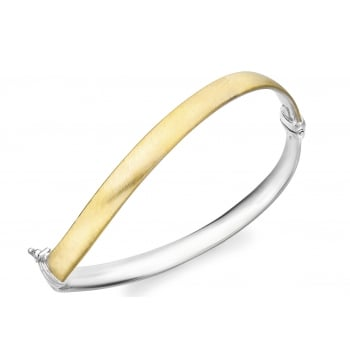 Jewel & Gem 9ct 2-Colour Gold Satin Wave Bangle