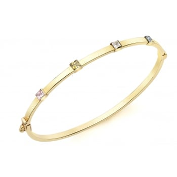 Jewel & Gem 9ct Yellow Gold Multi Colour CZ Detail Bangle