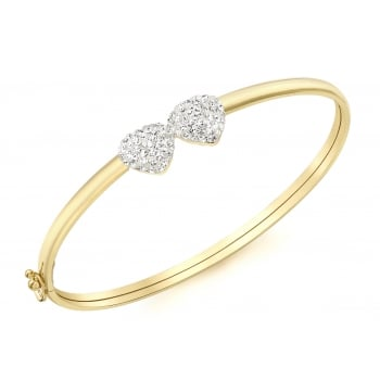 Jewel & Gem 9ct Yellow Gold Crystalique Heart Detail Bangle
