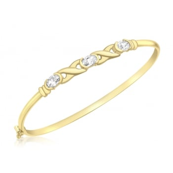 Jewel & Gem 9ct Yellow Gold CZ Hugs & Kisses Bangle