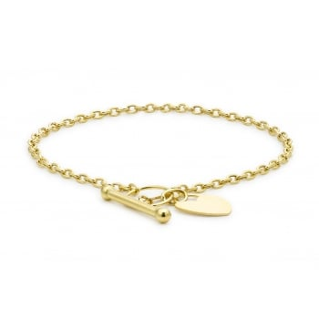 Jewel & Gem 9ct Yellow Gold Heart T-Bar Bracelet 18cm/7""