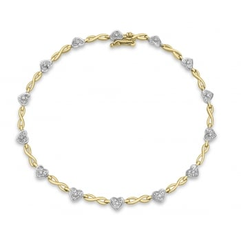 Jewel & Gem 9ct 2-Colour Gold 0.10ct Diamond Heart Twist Bracelet 19cm/7.5""