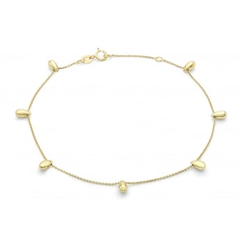 "Jewel & Gem 9ct Yellow Gold Teardrop Bead Adjustable Anklet 20cm/8""-23cm/9"""