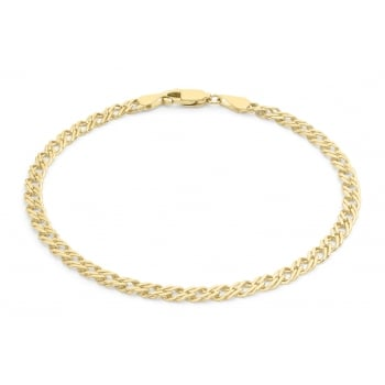 Jewel & Gem 9ct Yellow Gold 060 Double Curb Chain Bracelet 18cm/7""