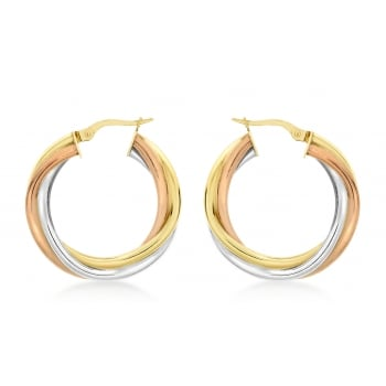 9ct 3-Colour Gold 28mm Twist Creole Earrings