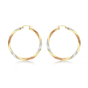 Jewel & Gem 9ct 3-Colour Gold 40mm Satin Twist Creole Earrings