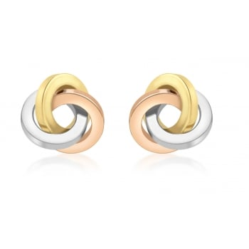 9ct 3-Colour Knot Stud Earrings