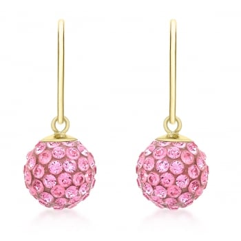 Jewel & Gem 9ct Yellow Gold Pink Crystalique Ball Drop Earrings