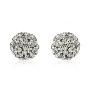 Jewel & Gem 9ct Yellow Gold 7mm Grey Crystalique Ball Stud Earrings