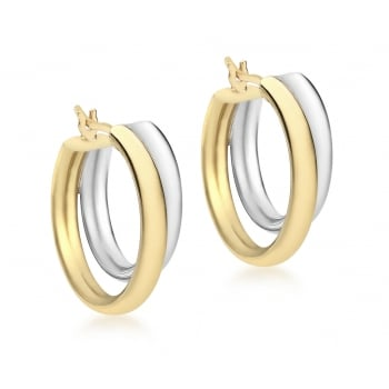 Jewel & Gem 9ct 2-Colour Gold 19mm Polished Double Creole Earrings