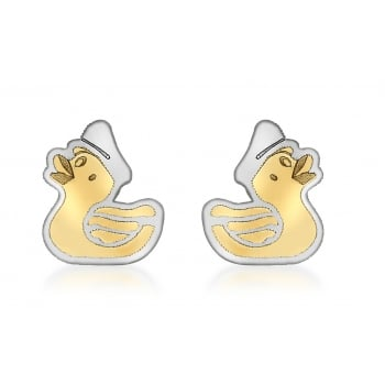 Jewel & Gem 9ct 2-Colour Gold Duck Stud Earrings