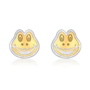Jewel & Gem 9ct 2-Colour Gold Frog Face Stud Earrings