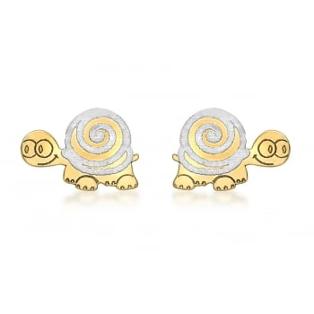 Jewel & Gem 9ct 2-Colour Gold Tortoise Stud Earrings
