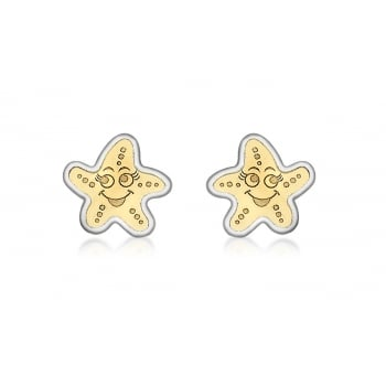 Jewel & Gem 9ct 2-Colour Gold Starfish Stud Earrings