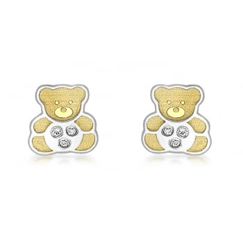 9ct 2-Colour Gold CZ Teddy Bear Stud Earrings