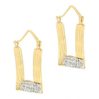 Jewel & Gem 9ct Yellow Gold Crystalique Square Creole Earrings