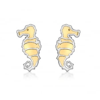 Jewel & Gem 9ct 2-Colour Gold Seahorse Stud Earrings