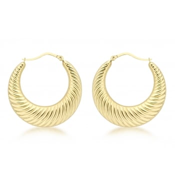 Jewel & Gem 9ct Yellow Gold 33mm Ribbed Creole Earrings