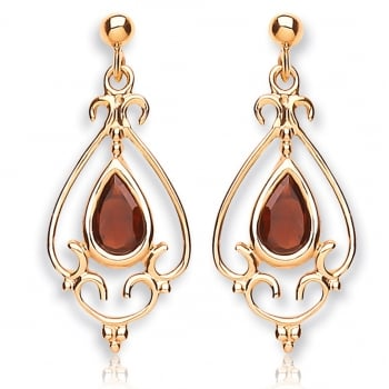 Jewel & Gem 9ct Yellow Gold Garnet Chandelier Drop Earrings