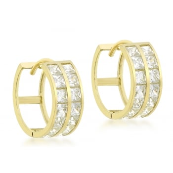 Jewel & Gem 9ct Yellow Gold CZ Double Row 14mm Huggy Earrings