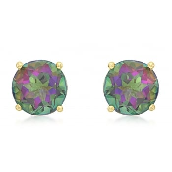 Jewel & Gem 9ct Yellow Gold 8mm Mystic Topaz Stud Earrings