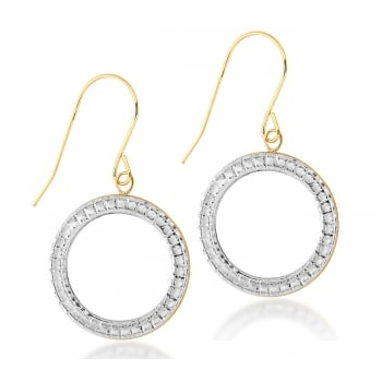 Jewel & Gem 9ct Yellow Gold 2-Tone 17mm Circle Drop Earrings