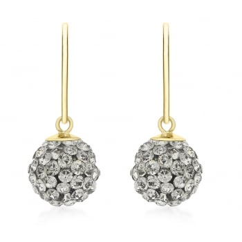 Jewel & Gem 9ct Yellow Gold Grey Crystalique Ball Drop Earrings