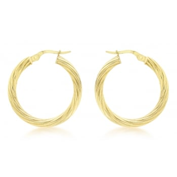 Jewel & Gem 9ct Yellow Gold 25mm Round Twist Creole Earrings