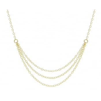 Jewel & Gem 9ct Yellow Gold 3 Strand Drop Necklace 46cm/18""