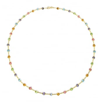 Jewel & Gem 9ct Yellow Gold Multicoloured Crystals and Bar Link Necklace 43cm/17""