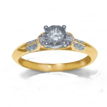 Adara 9ct 0.20 Carat Diamond Set Solitaire With Diamond Set Shoulder