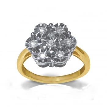 Adara 9ct Illusion Set 0.25 Carat Diamond Cluster Ring