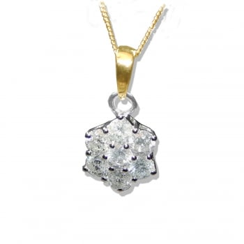 "Adara 9ct 1.00 Carat Diamond Cluster Pendant And 18"" Chain"