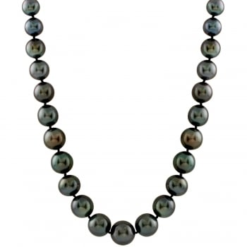 Bella Pearls 14ct white gold 8-10mm black tahitian pearls necklace