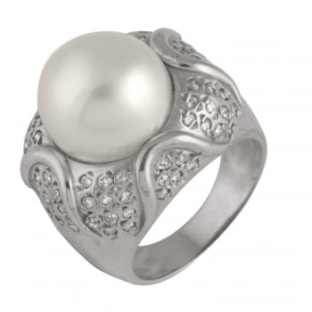 Bella Pearls 14ct white gold 11-12mm white south sea pearls 0.76ct south sea diamond ring