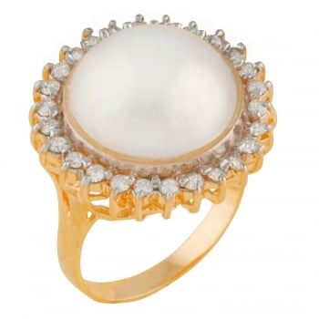Bella Pearls 14ct yellow gold 13-14mm white mabe halo 0.52ct diamond ring