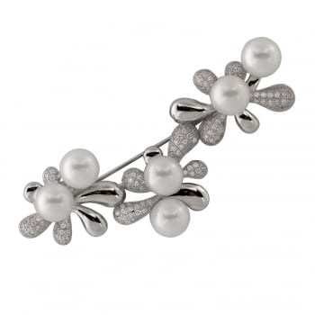 Bella Pearls sterling silver rhodium plated 8-8.5mm white freshwater brooch