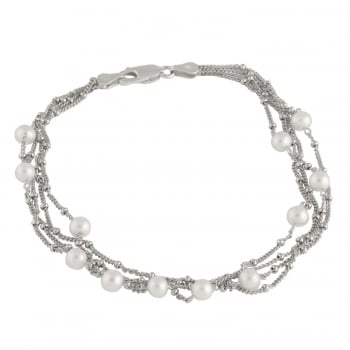 Bella Pearls sterling silver rhodium plated 4.5-5mm white freshwater pearlbracelet