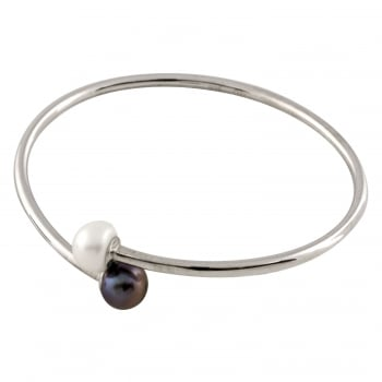 Bella Pearls sterling silver rhodium plated 9-9.5mm white freshwater pearl bracelet