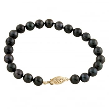 Bella Pearls 14ct yellow gold 7-8mm black chinese black akoya pearl bracelet