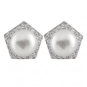 Bella Pearls sterling silver rhodium plated 8-8.5mm white freshwater pearl earrings