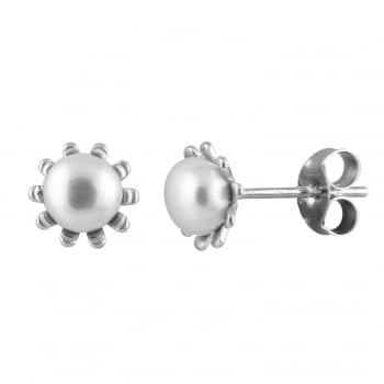 Bella Pearls sterling silver rhodium plated 5-5.5mm white freshwater pearl fancy halo studs