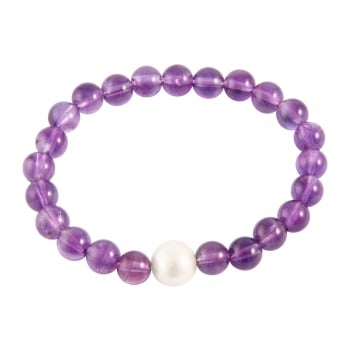 Bella Pearls 8-9mm purple/white amethyst & freshwater pearls bracelet