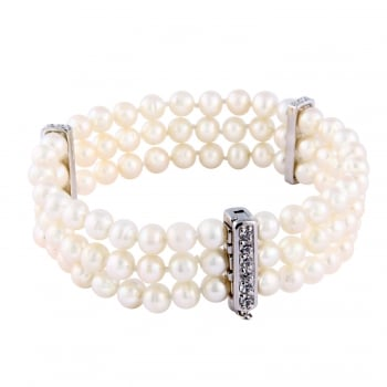 sterling silver rhodium plated 5.5-6mm white freshwater pearl triple row cz bracelet