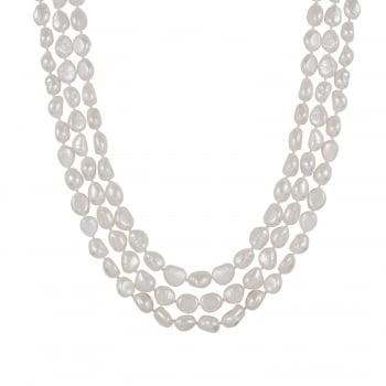 Bella Pearls 8-9mm white freshwater pearl endless necklace