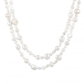 Bella Pearls 4-10mm white freshwater pearl endless necklace