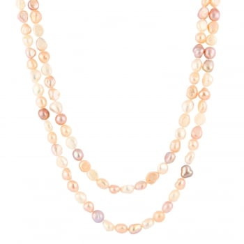 Bella Pearls 9-10mm multicolor endless multicolored baroque freshwater pearl necklace